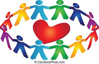 coração, trabalho equipe, ao redor, logotipo