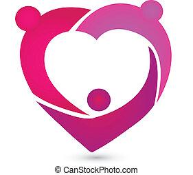 coração, trabalho equipe, logotipo