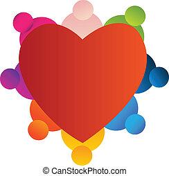coração, trabalho equipe, vermelho, logotipo