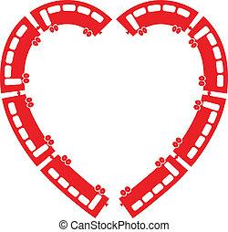 coração, trem, vetorial, ilustração