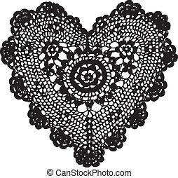 coração, tricotando