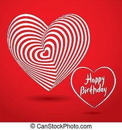 coração, tridimensional, branca, aniversário, ilusão, volume, experiência., vetorial, vermelho, óptico, feliz, template., cartão, 3d