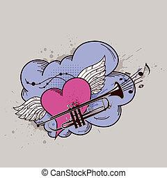 coração, trompete, asas