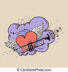 coração, trompete, vermelho