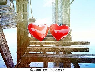 coração, tudo, feito, amor, valentine, céu, around!, símbolos, sea., fundo, day.