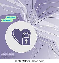 coração, tudo, sala, roxo, fechadura, abstratos, modernos, linhas, experiência., vetorial, directions., advertising., seu, ícone