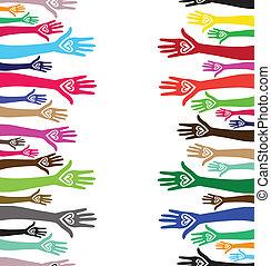coração, unidas, semelhante, pessoas, seamless, mão,...