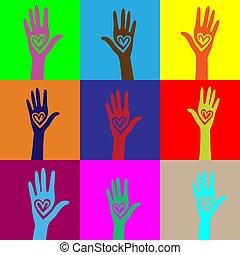 coração, unidas, semelhante, pessoas, seamless, mão, experiência.