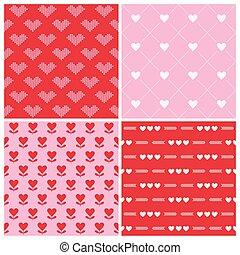 coração, valentine, fundos, -, seamless, padrões, vetorial, 4, dia