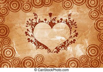 coração, valentine, vindima