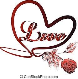 coração, valentines, amor, cartão