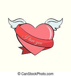 coração, valentines, asas, cartão