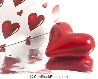 coração, valentines, detalhe