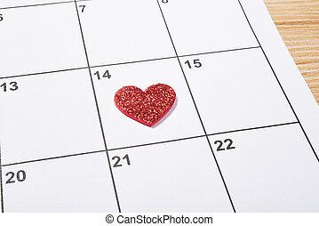 Coração,  valentines, Dia,  agenda