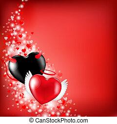coração, valentines, fundo