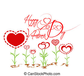 coração, valentines, jardim, feliz