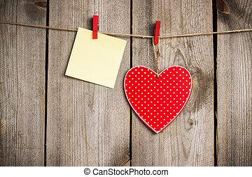coração, varal, valentine, penduradas, dia, vermelho