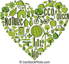 coração, verde, ambiental, ícones