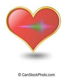 coração vermelho, ícone, ligado, um, branca, experiência.