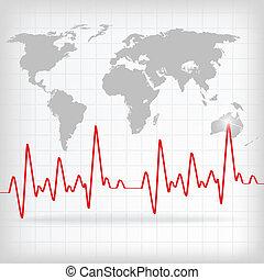 coração vermelho, batidas, cardiograma, branco, fundo