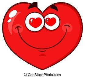 coração vermelho, caricatura, emoji, rosto, personagem, com, corações, olhos