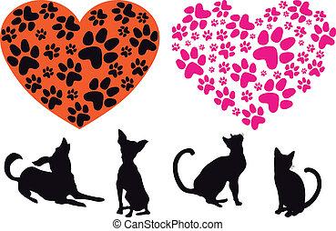 coração vermelho, com, animal, foodprint