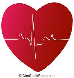 coração vermelho, com, batida coração, ou, ritmo
