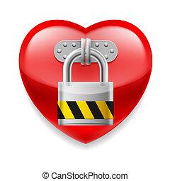 coração vermelho, com, fechadura