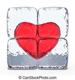 coração vermelho, congelado, em, ice., 3d