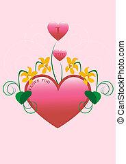 coração vermelho, decorado, com, narcissus