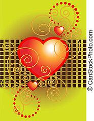 coração vermelho, decorado, curvas