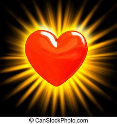 coração vermelho, em, a, raios luz