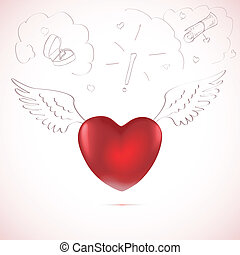 coração vermelho, esboço