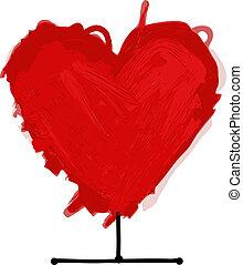 coração vermelho, esboço, para, seu, desenho