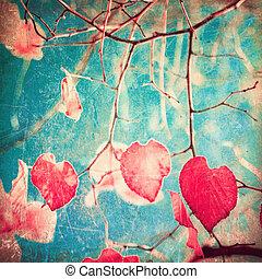 coração, vermelho, folheia, dado forma