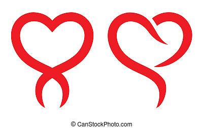 coração vermelho, forma