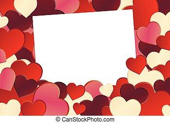coração vermelho, forma, fundo