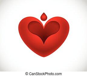 coração vermelho, forma, logotipo, vetorial