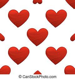 coração vermelho, forma, seamless