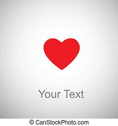 Coração, vermelho, fundo, cinzento