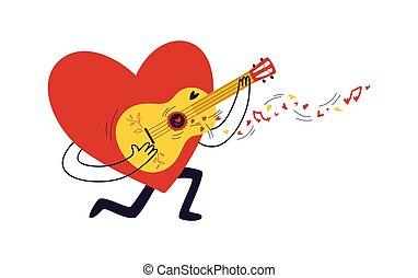 coração vermelho, jogos, pequeno, ?haracter, vetorial, notas, pintado, ?artoon, forma, mosca, valentine, concept., corações, dia, guitar., canta, serenade., estoque, illustration., amarela, saída
