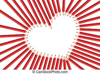 coração, vermelho, lápis
