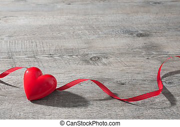coração vermelho, ligado, madeira, fundo