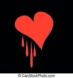 coração vermelho, ligado, um, experiência preta, para, seu, desenho