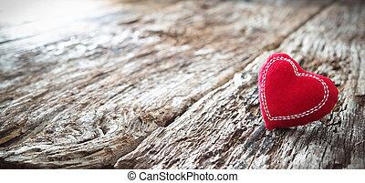 coração vermelho, ligado, um, rústico, madeira, fundo