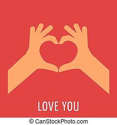 coração, vermelho, mão
