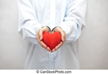 Coração, vermelho, mãos