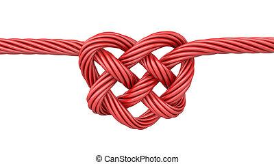 coração, vermelho, nó, dado forma
