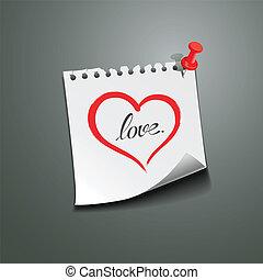 coração vermelho, nota papel, amor, mensagem