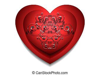 coração, vermelho, prata, tamborile, convexo